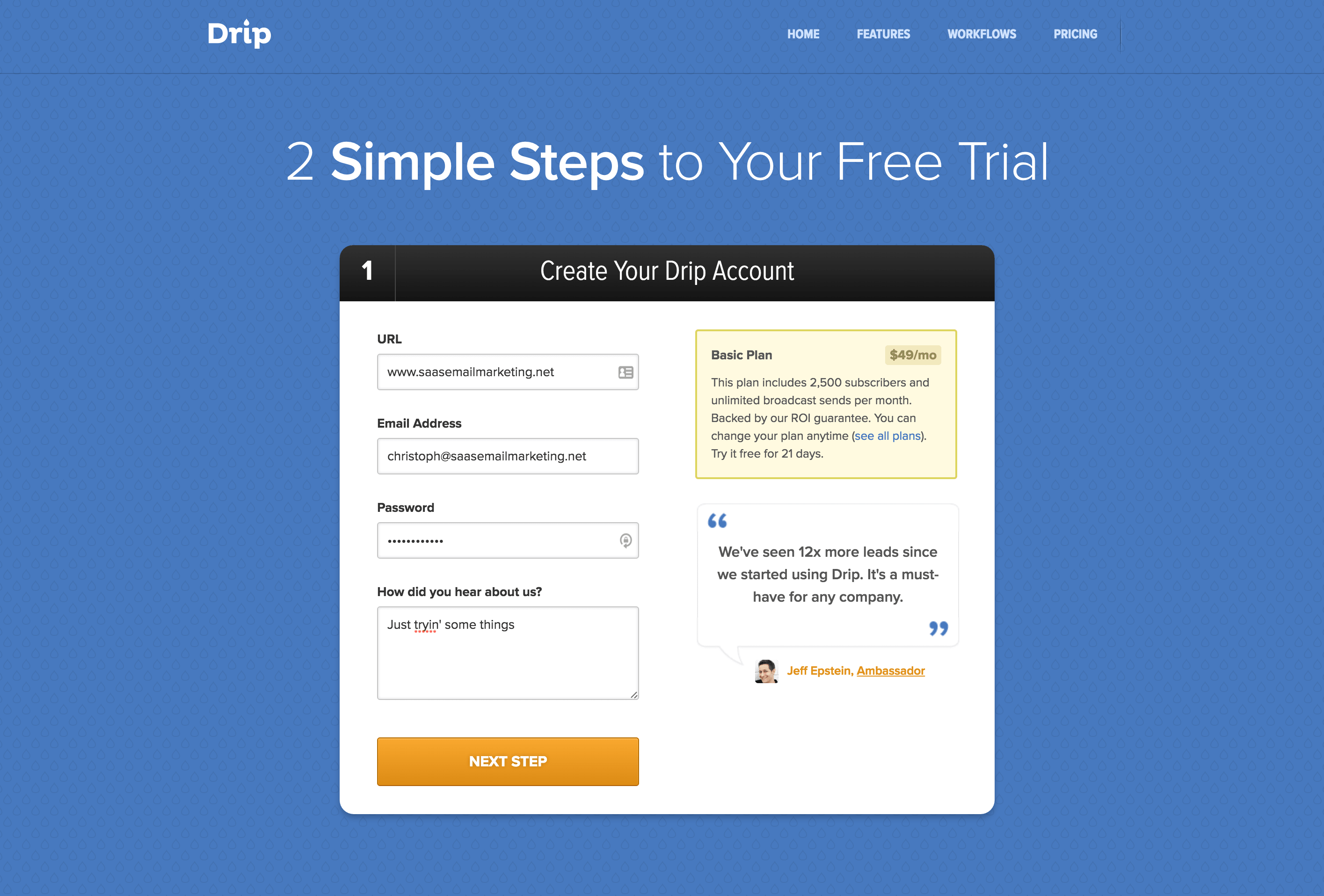 signup abandonment emails case study how drip increased trial