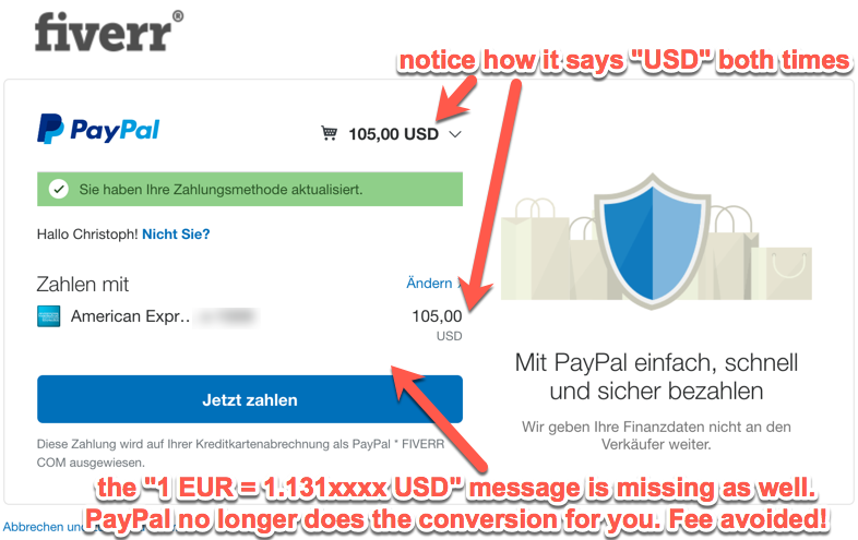 Avoiding PayPal hidden charges